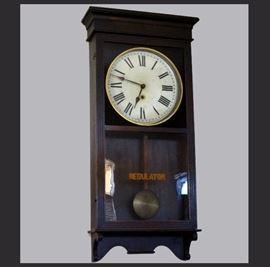 Large Antique Regulator Wall Clock