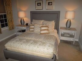 upholstered headboard and panel frame bed