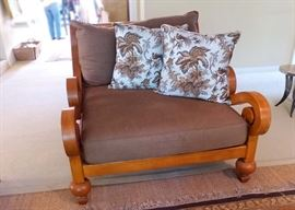 Was $350 will now be $187.50                                                            Chair with linen cushions 46 wide x 55 deep (matches sofa, linen matches curtain panels)