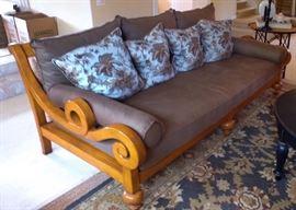 Linen Sofa 8 foot long  55 deep (matches curtain panels, also a matching chair)