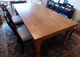 Farmhouse table 39 1/2 x 79 also 4 black chairs