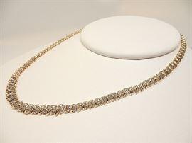 Womens 17 inch 10K Yellow Gold 1.33 Ct. TW Round Diamond Tennis Necklace
