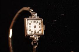 14k white gold 2 diamond ladies watch