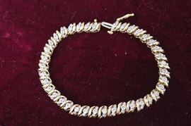 Women's 7 inch 10K Yellow Gold 1 Ct. TW Round Diamond Tennis Bracelet
