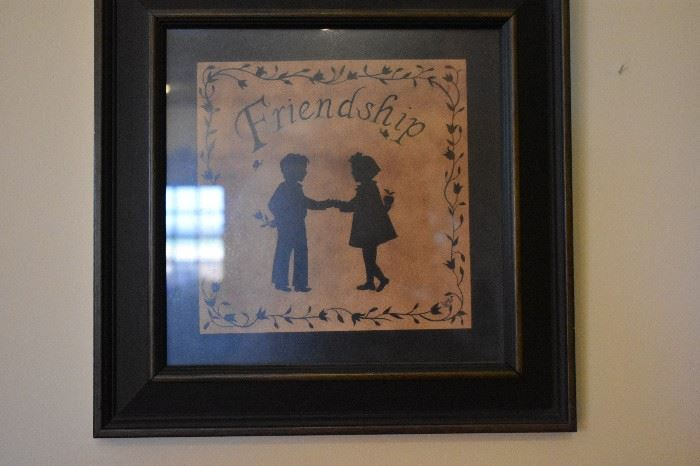 "Antique Silhouette of Boy & Girl labeled ""Friendship"""