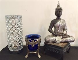 Beaded lamp, Decorative cobalt glass, Thai Buddha figure