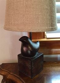 Pair of quaint bird lamps