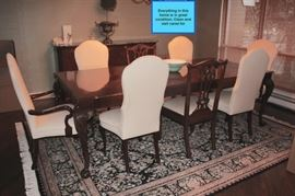 Dining Room Table with Eight Chairs & Rug