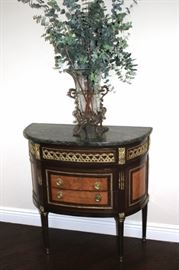 Demi -Lune Table/Cabinet with Decorative