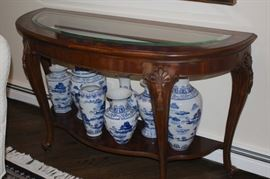 Console Table with  Blue/White Urns