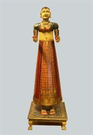 polychrome wooden female figure, India, 19th c., overall: 64in(H)