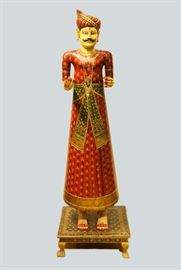 polychrome wooden male figure, India, 19th c., overall: 69in(H)
