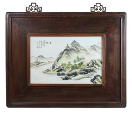 Chinese hardwood framed porcelain plaque, overall: 25.5in(L) x 20.5in(H)