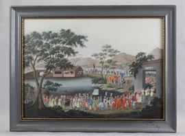 Chinese watercolor painting, early 19th c., overall: 25in(L) x 19in(H)