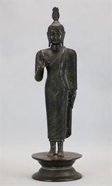 Asian bronze Buddha, 19th c., 18in(H)