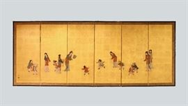 Japanese six panel screen, overall: 113in(L) x 45.5in(H)