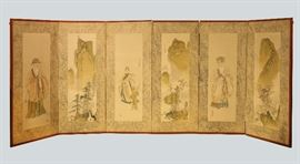 Korean six panel screen, 19th/20th c., overall: 105in(L) x 44.5in(H)