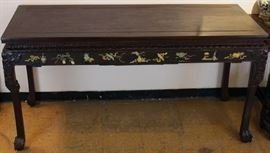 large Chinese hardwood table inlaid w/ jade/stone, 71in(L) x 27.5in(W) x 36in(H)