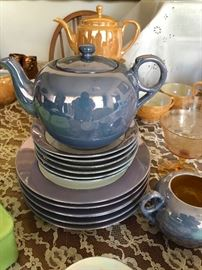 Noritake blue or purplish Luster ware Tea Set