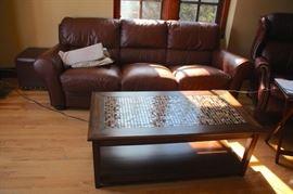 Sofa and Mosaic Top Coffee Table