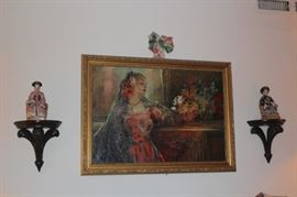 Figurines with Asian Influence and Oil Painting
