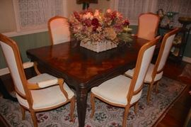 Parquet Dining Table (In great condition) and 6 Chairs