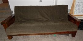 MISSION STYLE SOLID OAK FUTON BED.