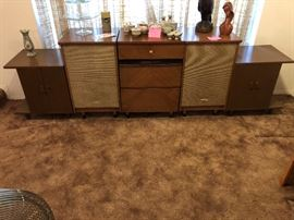 Vintage Hi Fi cabinet, Mid Century, guts are not in it, but very cool 3 piece set