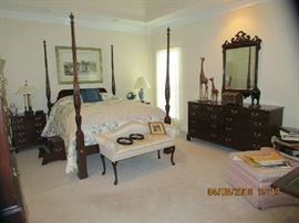 Master Bedroom with  Queen Rice carved Queen Bed, Dresser, End tables, Chest,  TV, lots of accessories.. Chair/ottoman,  Chaise Lounge, etc...
