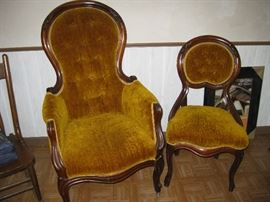 2 Victorian Chairs with Matching Upholstery