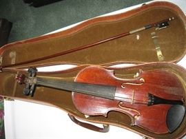 Small Violin, marked Strad with Bow and Case
