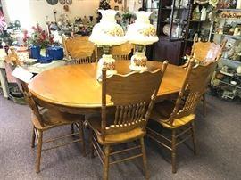 """#1Wood Table w/6 chairs  48""""-72"""" w/leaf  $275.00"""