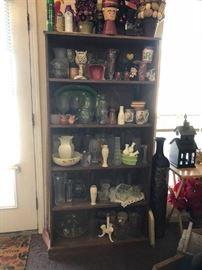 """#75 shelf laminate bookcase 65.5"""" H x 11.5"""" D 31"""" W $40.00"""