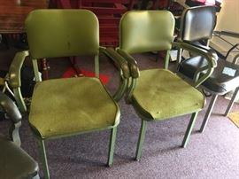 #30(2) Light Green Metal Chairs Pair    $25 each $50.00