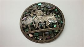 Sterling  pin inlaid with mother of pearl