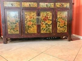 "Antique Oriental cabinet $295 (62"" wide x 19"" deep x 39"" high)"