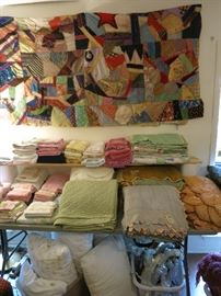 Vintage Crazy Quilt Top, Vintage Satin Bedspread/Comforters For Craft Projects