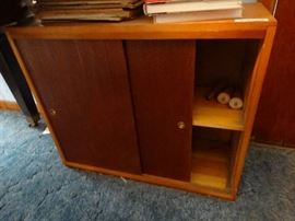 Small wood cabinet w/ sheet music/ music books/ CD ...