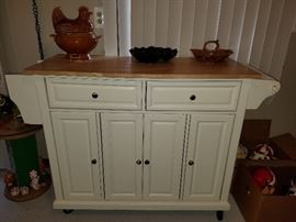 $160   Butcher block, white cabinet on coasters