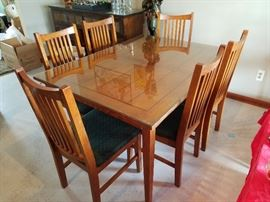 $275   Wood table  with 6 chairs