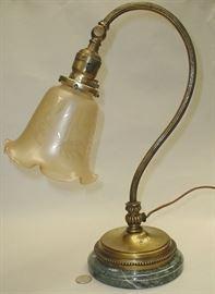 Vintage desk lamp on marble base