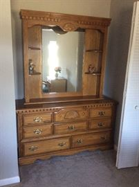 Country dresser with mirror.
