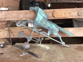 Vintage horse weathervane. Copper patina.  Just gorgeous.