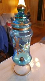 Gorgeous 24 kt gold, raised bead accents Murano glass apothecary jar.