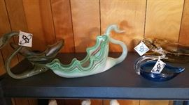 Vintage hand blown glass swans.