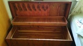 Cedar chest opened.