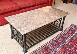 Marble Top Cocktail / Coffee Table with Iron Base