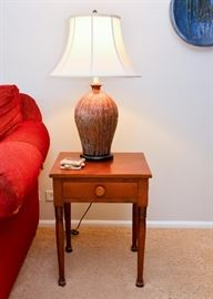 Vintage Wood End Table, Ceramic Table Lamp