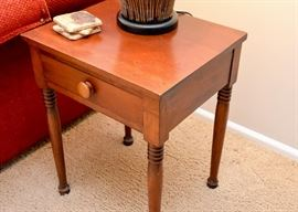 Vintage Wood End Table with Drawer