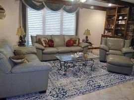 faux leather sofa, loveseat, chair, otto - rug not for sale